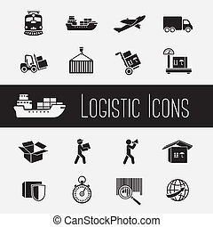 Supply Chain Icons Set - Logistic global supply chain icons...