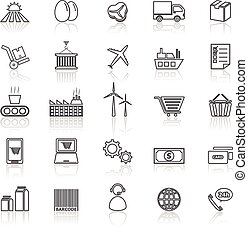 Supply chain line icons with reflect on white, stock vector