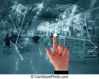 Supply Chain Management Concept - Global trading network,...