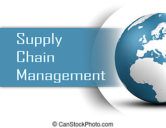 Supply Chain Management concept with globe on white...