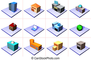 A series of objects for supply chain management diagrams and industry related.