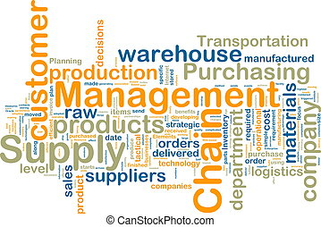 Word cloud tags concept illustration of supply chain management
