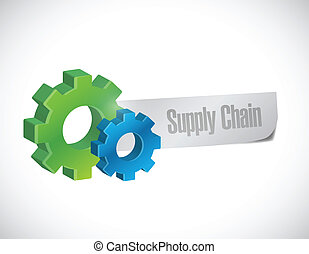 supply chain sign illustration design over a white background