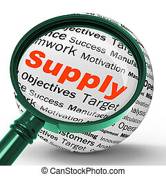 Supply Magnifier Definition Shows Goods Provision Or Product...