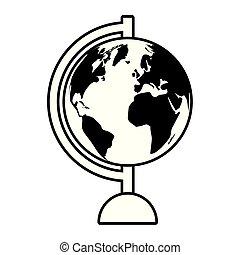 supply school globe map on white background