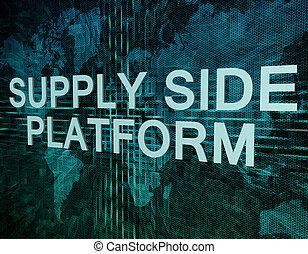Supply Side Platform text concept on green digital world map...
