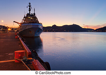 Supply Vessel - A supply vessel in moored at dock.