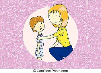 support., 概念, 親, 彼女, 母, son., day., 話し, ベクトル, イラスト, お母さん