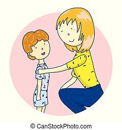 support., 概念, 親, 彼女, son., 話し, ベクトル, イラスト, お母さん