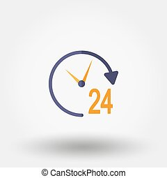 Support 24 hours. Icon. - Support 24 hours. Icon for web and...