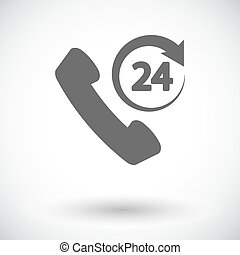 Support 24 hours. Single flat icon on white background. ...