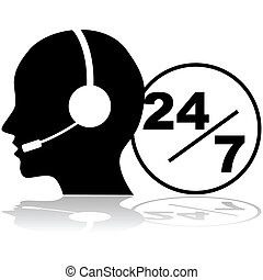 Support 24/7 - Icon showing a person with a headset...
