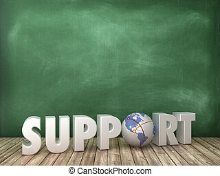 SUPPORT 3D Word with Globe World on Chalkboard Background