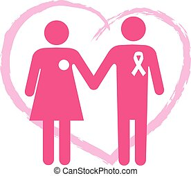 Support a breast cancer surviver - Symbol for a breast...