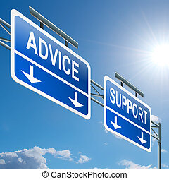 Support and advice. - Illustration depicting a highway ...