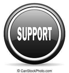 support black circle glossy web icon