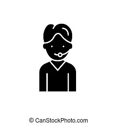 Support black icon, vector sign on isolated background. Support concept symbol, illustration