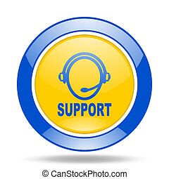 support blue and yellow web glossy round icon