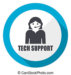 Support blue flat design web icon