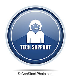 Support blue round web icon. Circle isolated internet button for webdesign and smartphone applications.