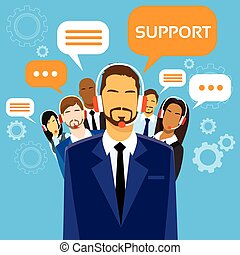 Support Business People Group Technical Team On Line Chat...