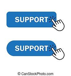 Hand cursor clicks Support button