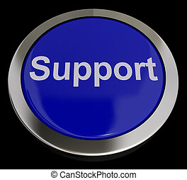 Support Button In Blue Showing Help And Assistance