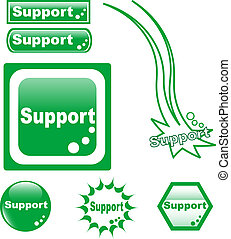 SUPPORT button web glass icon