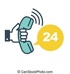 Support call 24 hours online every day hotline isolated icon...