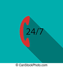 Support call center 24 hours icon, flat style