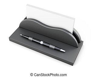 support carte visite professionnelle visite, à, stylo, blanc, arrière-plan., 3d, rendre