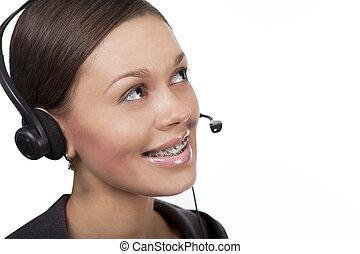 support center - cute and pretty dark hair call center ...