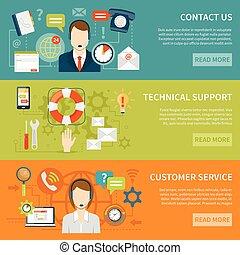 support client, contact, bannières, nous