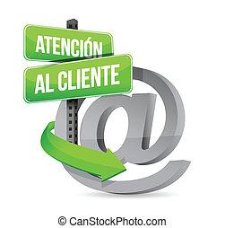 support client, espagnol, illustration, signe