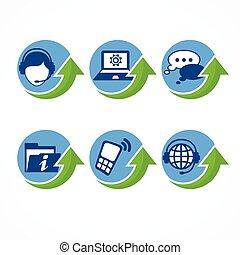 support client, flèche, icônes