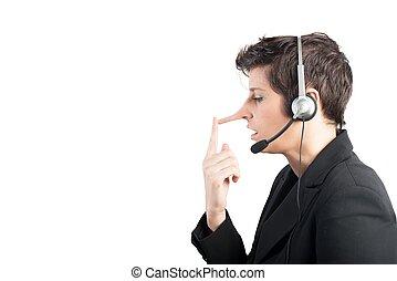 support client, menteur