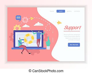support client, service, atterrissage, page