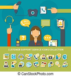 support client, service, collection, icônes
