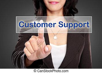 support client, virtuel, bouton, poussée, homme affaires, écran
