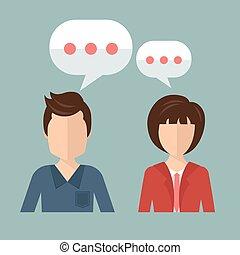 support., concetto, parlare, appartamento, donna d'affari, discutere., illustrazione, vettore, uomo affari, chiacchierata