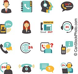 Support contact call center icons set - Contact us 24h ...