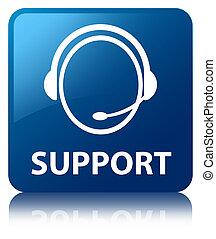 Support (customer care icon) blue square button