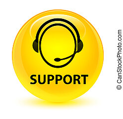 Support (customer care icon) glassy yellow round button