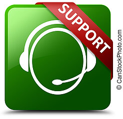 Support (customer care icon) green square button red ribbon in corner