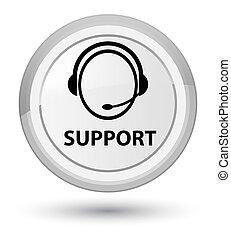 Support (customer care icon) prime white round button