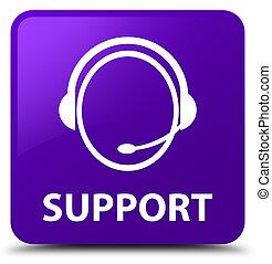 Support (customer care icon) purple square button