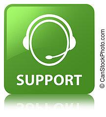 Support (customer care icon) soft green square button