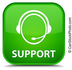 Support (customer care icon) special green square button