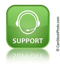 Support (customer care icon) special soft green square button