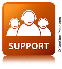 Support (customer care team icon) brown square button